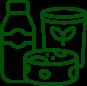 icône avec fromage et bouteille du lait et beurre