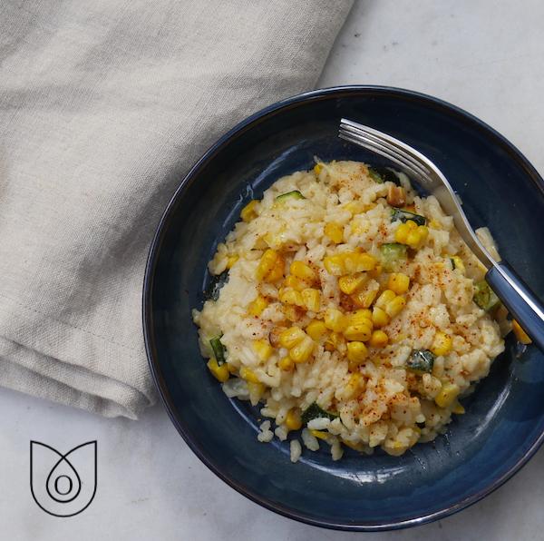risotto courgettes maïs grillé