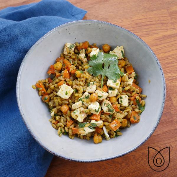 Salade freekeh carottes pois chiches