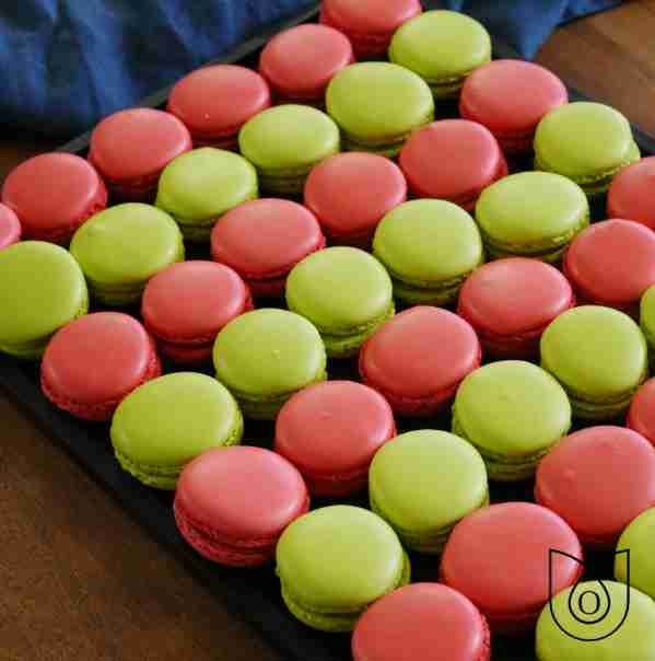 macarons pistache et framboise