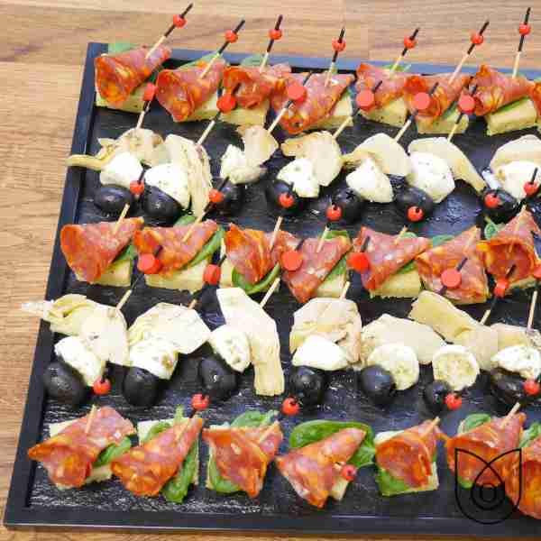 brochette mozza polenta chorizo